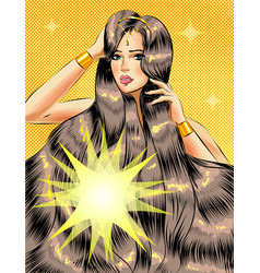 Pop art beautiful girl with long glossy vector