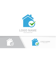 real estate and tick logo combination vector image