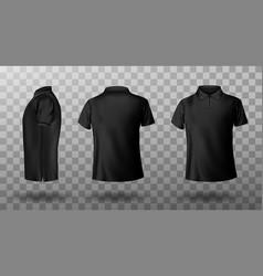 Realistic mockup male black polo shirt vector