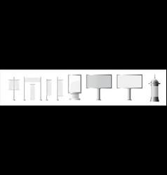 realistic monochrome set of blank city rectangular vector image