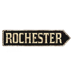 rochester vintage rusty metal sign vector image