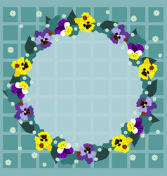 round frame pansies on a checkered background vector image