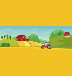 rural landscape panorama with farm cartoon flat vector image