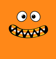 Scary monster face emotions vampire tooth fang vector