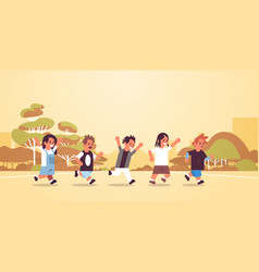 school children group running together elementary vector image