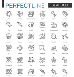 Seafood thin line web icons set fish food for vector