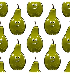 Seamless pattern of healthy fresh green pears vector image