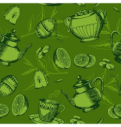 seamless pattern with a cup of tea vector image
