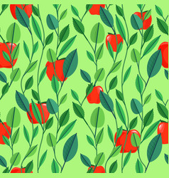 seamless pattern with green leaves and fruits vector image