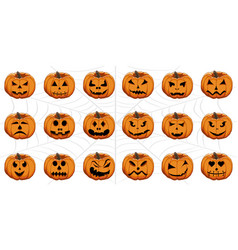 set from pumpkins for celebrating holiday vector image