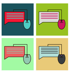 Set of flat with speech bubble symbol chat icon vector