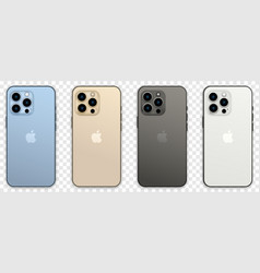 Set of new iphone 13 pro in four color vector