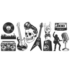 set rock and roll music emblems vector image