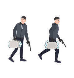 Sneaking thief burglar or robber holding gun and vector