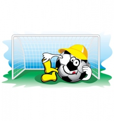 Soccer ball in the goal vector