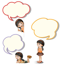 speech bubbles and little girl vector image