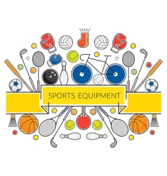 Sports Equipment Line Icons Display Label vector