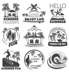 Summer Beach Label Set vector image