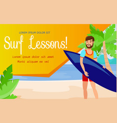 surfing school and active rest banner template vector image