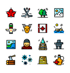 thin line canada icons set vector image
