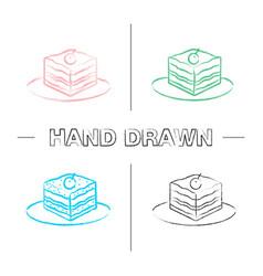 Tiramisu hand drawn icons set vector