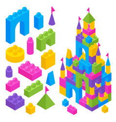 Toy constructor isometric blocks vector