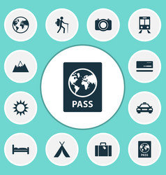 Traveling icons set collection of mastercard bag vector
