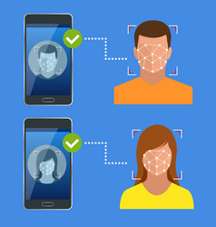 unlocking smartphone with biometric facial vector image