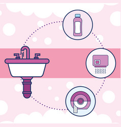 washbasin shampoo hand dryer toilet paper vector image