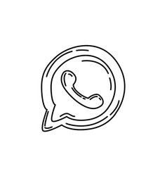 Whatsapp icon doodle hand drawn or black outline vector