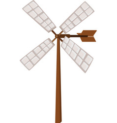 Wind propeller on wooden pole vector