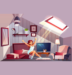 woman waking up in attic bedroom vector image
