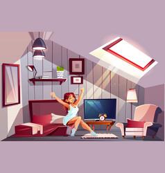 Woman waking up in attic bedroom vector