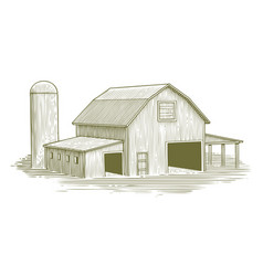 Woodcut traditional barn vector