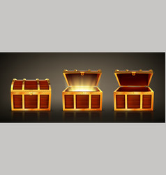 Wooden treasure chest with open and closed lid vector