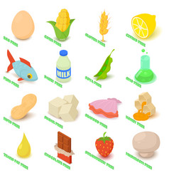allergy free icons set food isometric style vector image