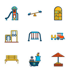 Children entertainment icons set flat style vector