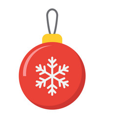 christmas tree ball flat icon new year christmas vector image