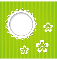 green frame and flowers vector image