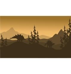 Landscape stegosaurus silhouette in hills vector