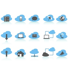 simple cloud computing icons setblue series vector image vector image