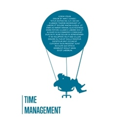 Time management banner with flying man vector