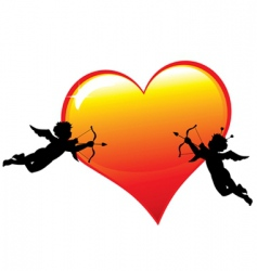 two cupid silhouettes vector image vector image