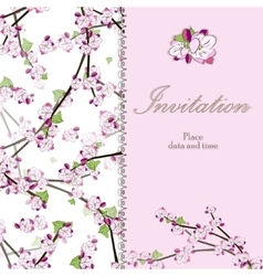 Vintage floral invitation card with blooming twig vector image vector image