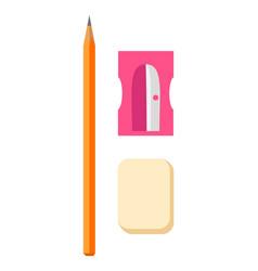 wooden pencil pink sharpener and beige rubber set vector image