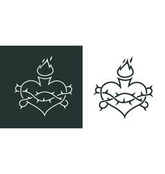 burning heart tattoo vector image