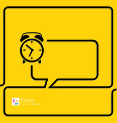 Clock alarm icon speech bubbles and chat symbol vector