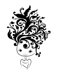 Female head silhouette floral hairstyle for your vector image vector image