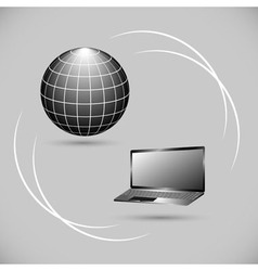 Internet connection between computer and server vector image