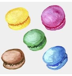 watercolor drawing macaroons vector image